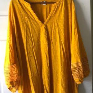 Ava & Viv Crochet Sleeve 3X Cotton Mustard Top